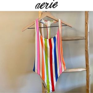 M Aerie Striped One Piece Swimsuit Neon